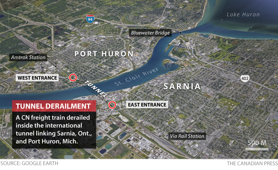 A train derailed while crossing the border between Sarnia, Ont. and Port Huron, Mich. on Friday.
