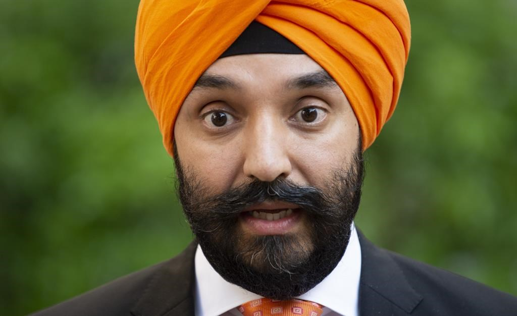 Innovation, Science and Economic Development Minister Navdeep Bains speaks with the media in Paris on May 15, 2019.