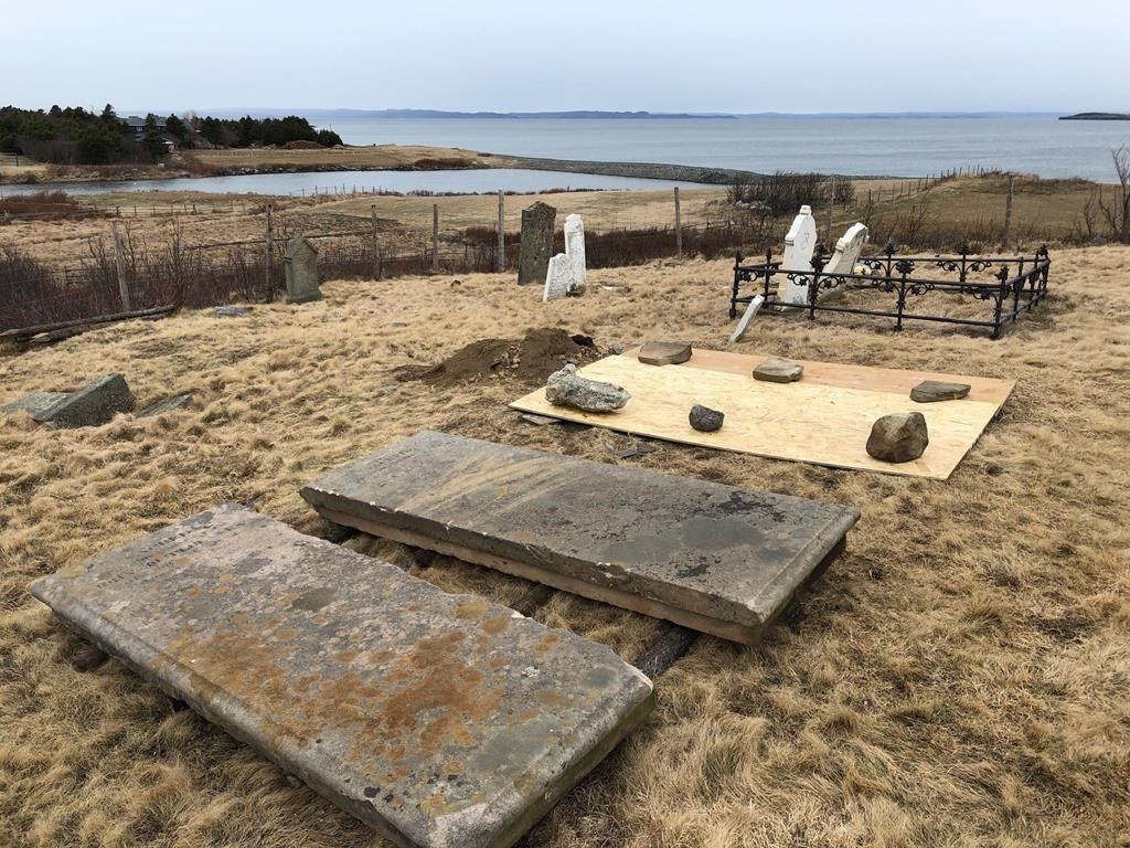 The All Saints cemetery in Conception Bay South, N.L. is seen in this undated handout photo. Sentencing arguments are expected to be heard today for a Newfoundland man convicted in the bizarre case of skeletal remains stolen from an Anglican cemetery.