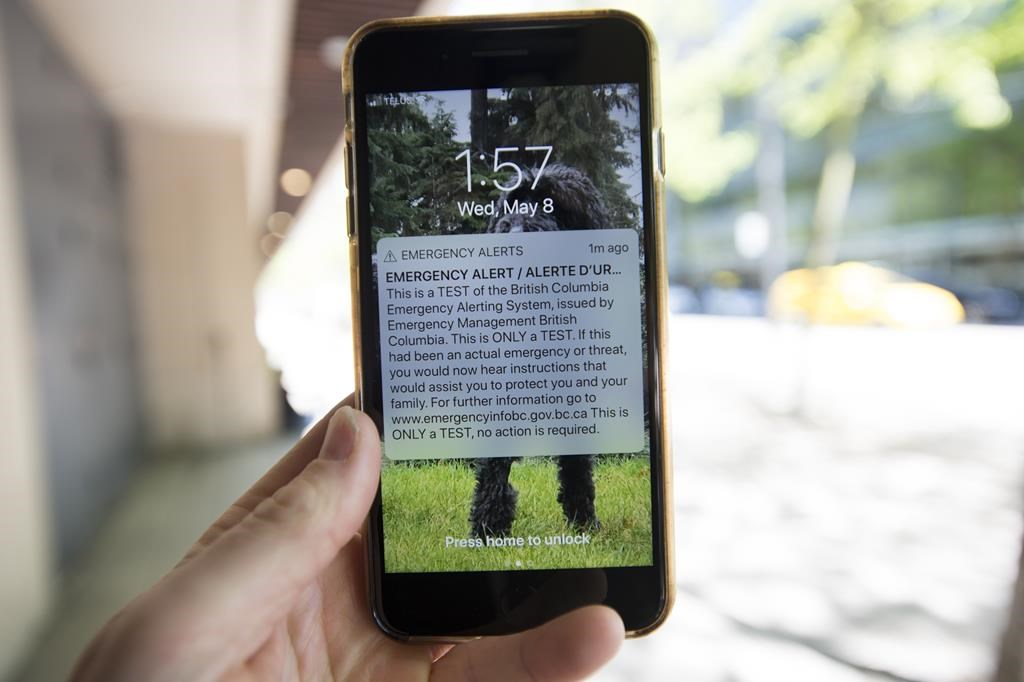 A emergency alert text message is pictured on a smartphone in Vancouver, Wednesday, May 8, 2019.