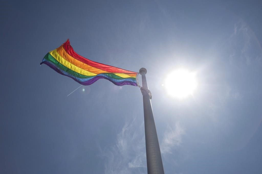 A rainbow flag is seen at Toronto City Hall in Toronto on Tuesday, May 31, 2016.