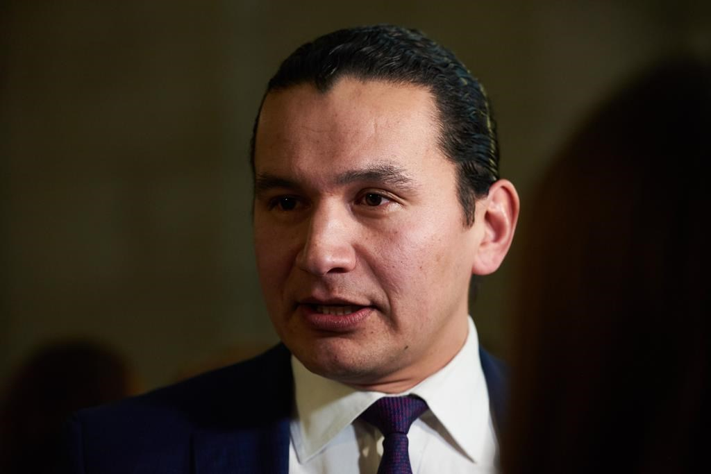 Manitoba NDP Leader Wab Kinew speaks to media following the delivery of Manitoba's 2019 budget, at the Legislative Building in Winnipeg, Thursday, March 7, 2019. Manitoba's Opposition New Democrats will release a fully costed campaign platform, in contrast with the third-party Liberals, NDP leader Wab Kinew said Wednesday.