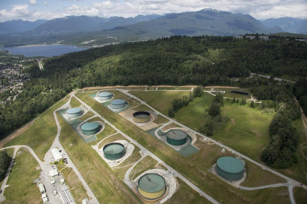 A aerial view of Kinder Morgan's Trans Mountain tank farm is pictured in Burnaby, B.C., on Tuesday, May 29, 2018.