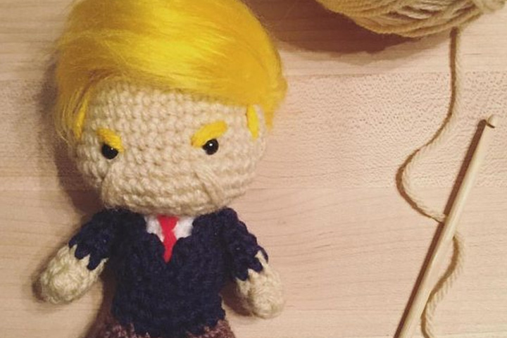 A crochet version of U.S. President Donald Trump is shown.