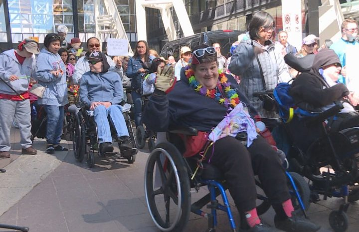 People paraded down Stephen Avenue in Calgary on Sunday, June 9, 2019 to celebrate Disability Pride.