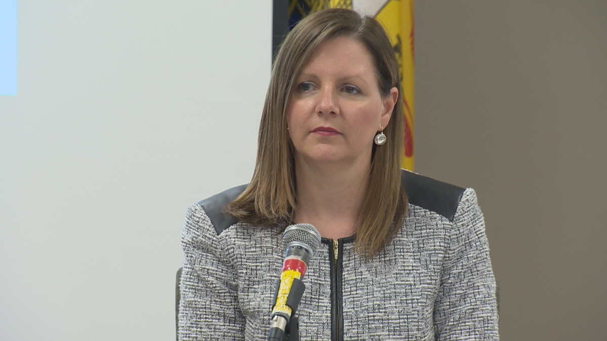 Dr. Jennifer Russell, the province's chief medical officer of health, speaking to reporters at a media briefing in Shediac, N.B. on June 13, 2019.
