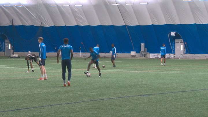 FC Edmonton players practise at the Edmonton Soccer Dome. (June 2019).