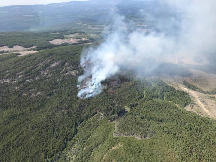 The provincial government says 11 grants totaling more than $1 million have been distributed to local governments and First Nations communities in the Kamloops Fire Centre to help reduce wildfires. Pictured is the Tuzo Creek wildfire, east of Penticton, on June 1, 2019. The 11.2-hectare blaze was considered held on June 3.