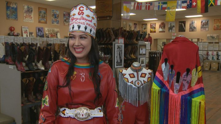 Calgary Stampede First Nations Princess Astokomii Smith tried on her custom parade outfits and boots on Friday, June 14, 2019.