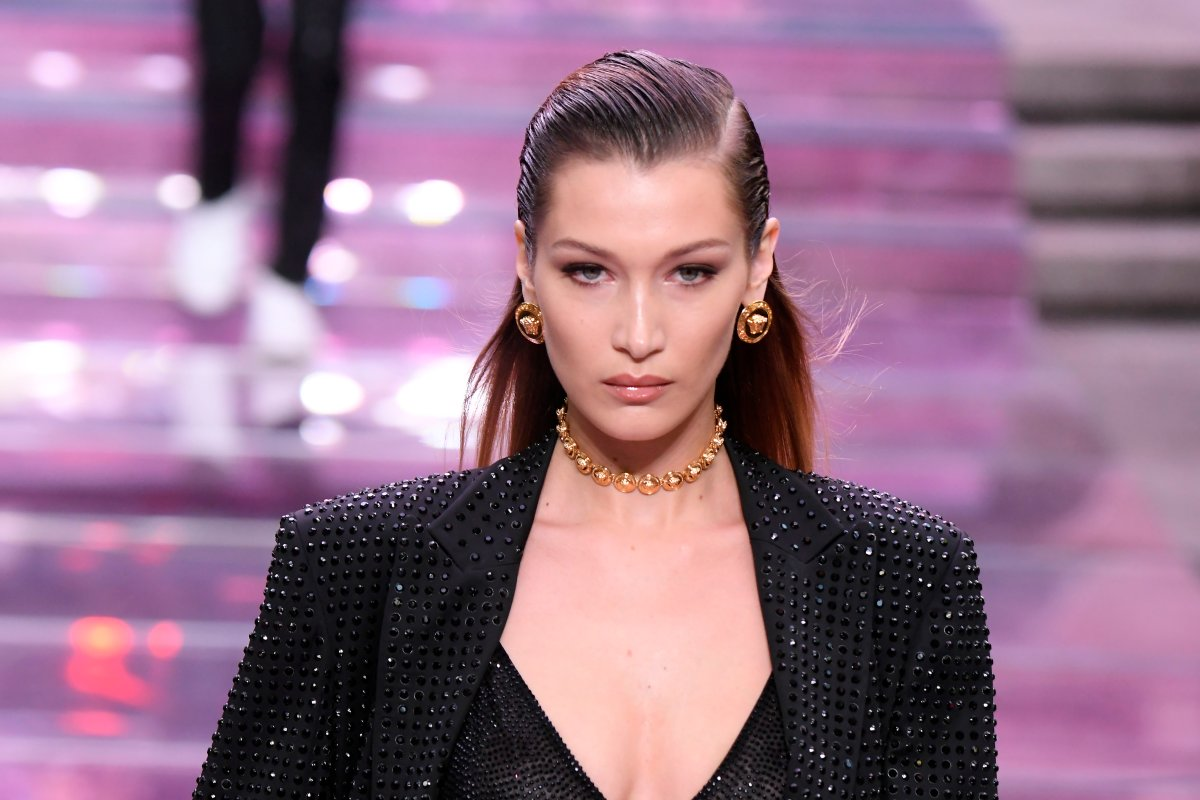 Bella Hadid, walks the runway at the Versace fashion show during the Milan Men's Fashion Week Spring/Summer 2020 on June 15, 2019 in Milan, Italy.