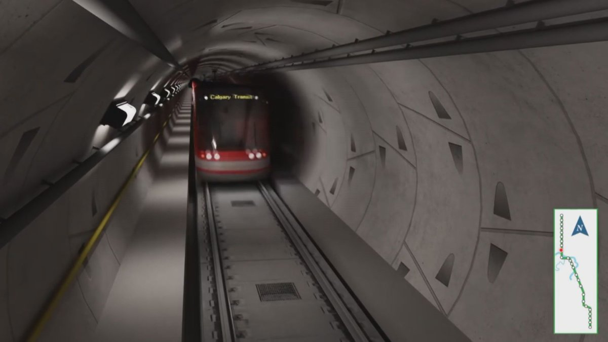 Rendering of proposed Green Line tunnel for downtown Calgary.