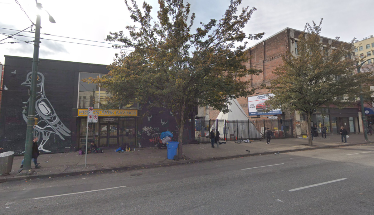 The block slated for redevelopment is currently home to the Shaldon Hotel, Pigeon Park Savings and an overdose prevention site.