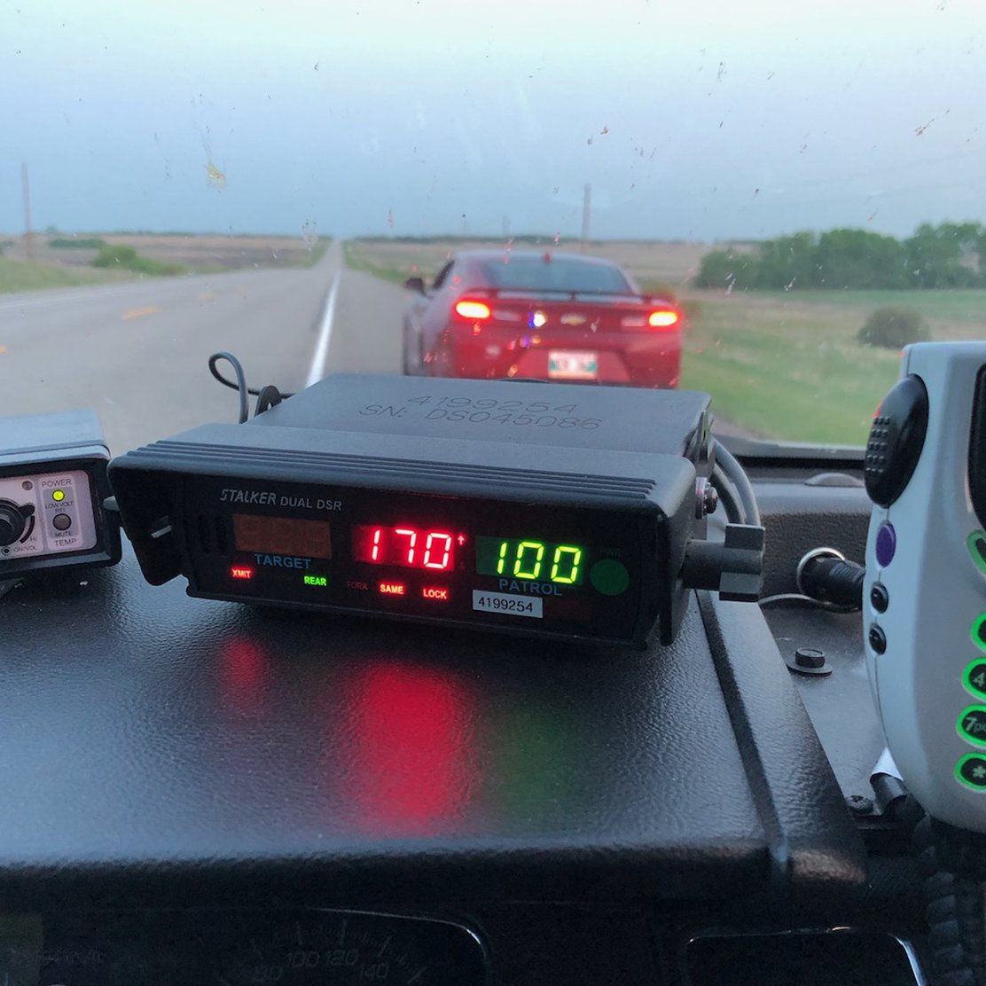 The teen driver was clocked going 70 km/h over the speed limit.