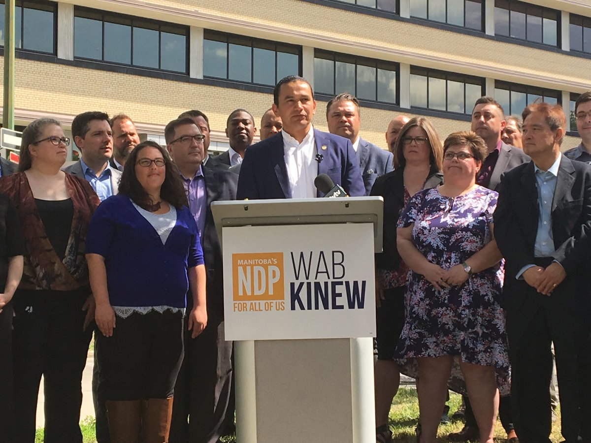 Manitoba NDP leader Wab Kinew released the party's election platform Thursday.