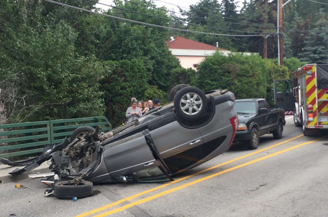 An SUV rolled and landed on its roof on Gordon Dr.