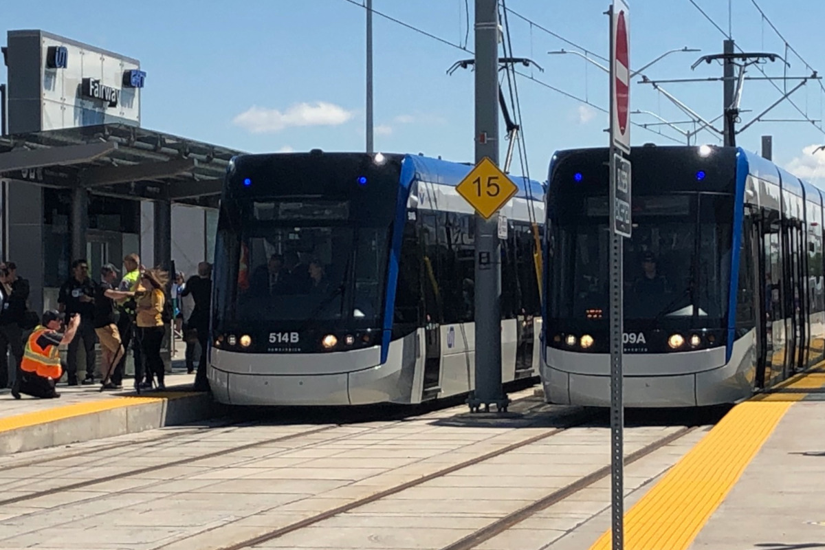 ION LRT vehicles get ready for their maiden voyages at Fairway Station.