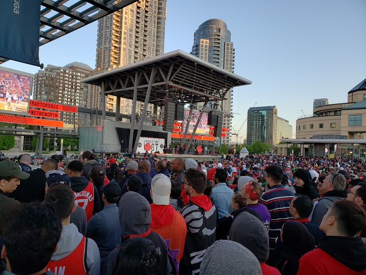 Crowds gathered in Jurassic Park West (Celebration Square) in Mississauga for Game 2 of the NBA Finals.