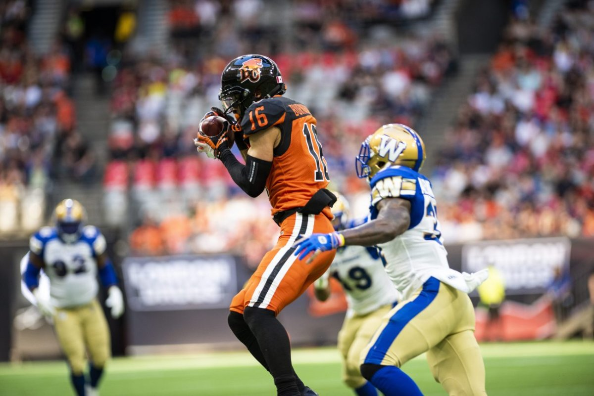 Bryan Burnham (16) makes a catch during the first half of CFL action in Vancouver, B.C., Saturday, June 15, 2019.