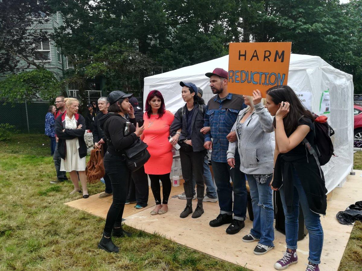 Activists set up a blockade around an overdose prevention site set up in Maple Ridge Wednesday, June 5, 2019.