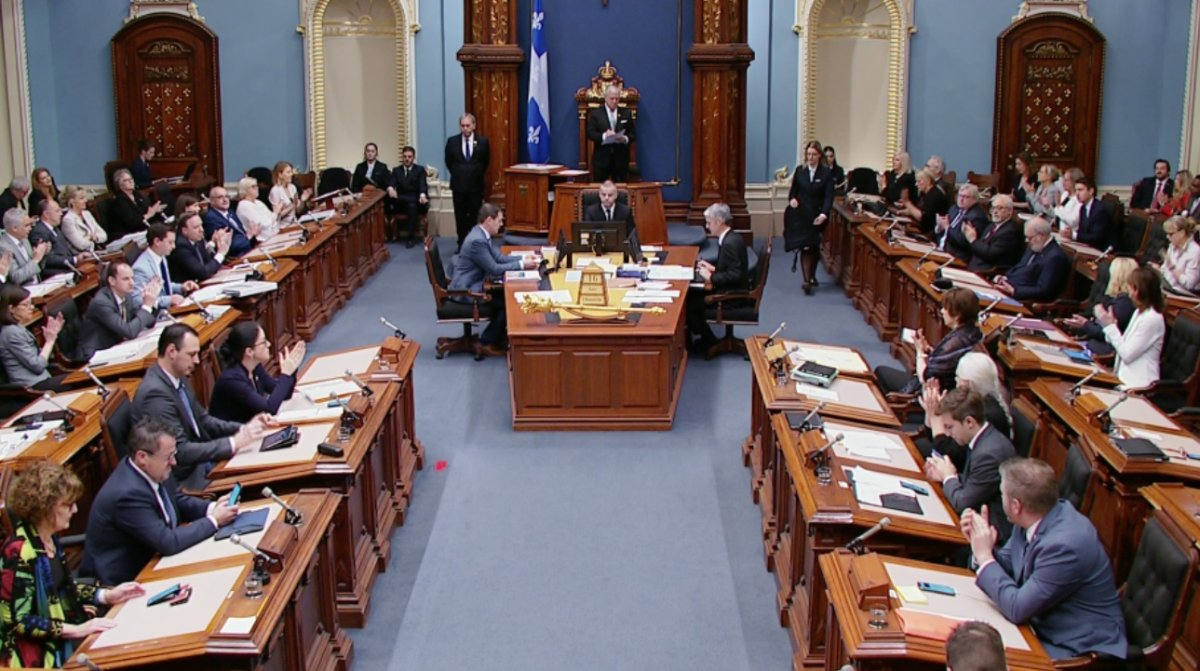 The Quebec government forced, through a closure motion for the National Assembly to sit all weekend in order to adopt two contentious bills. Sunday, June 16, 2019.