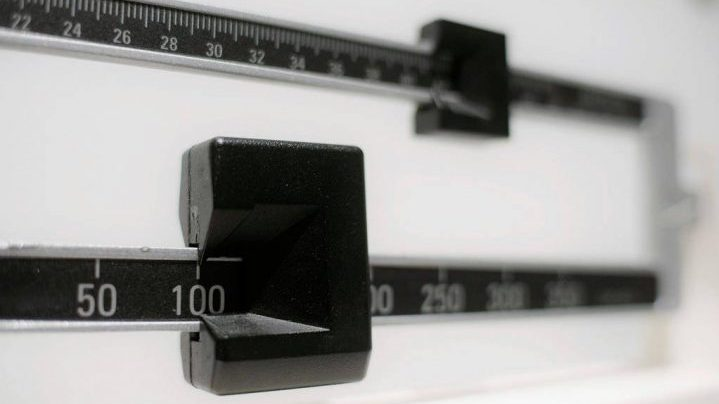 This file photo shows a closeup of a beam scale.