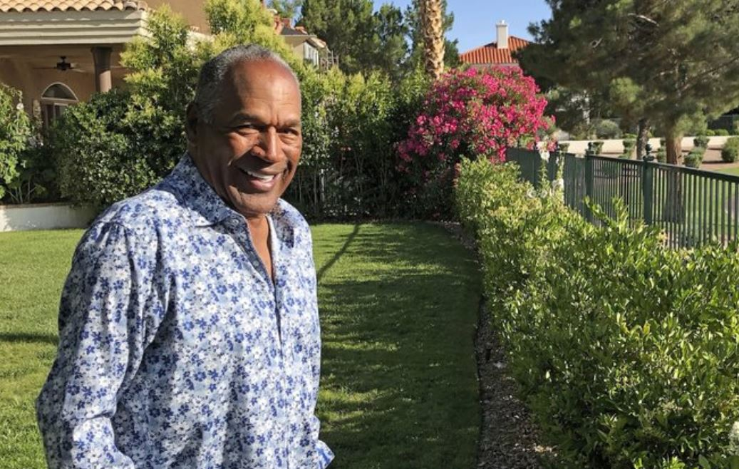 This photo provided by Didier J. Fabien shows O.J. Simpson in the garden of his Las Vegas area home on Monday, June 3, 2019. After 25 years living under the shadow of one of the nation's most notorious murder cases, Simpson says his life now is fine.