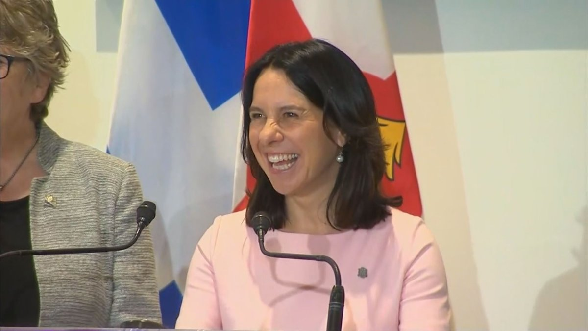 Montreal Mayor Valérie Plante is all smiles as she announces the city's new tramway.