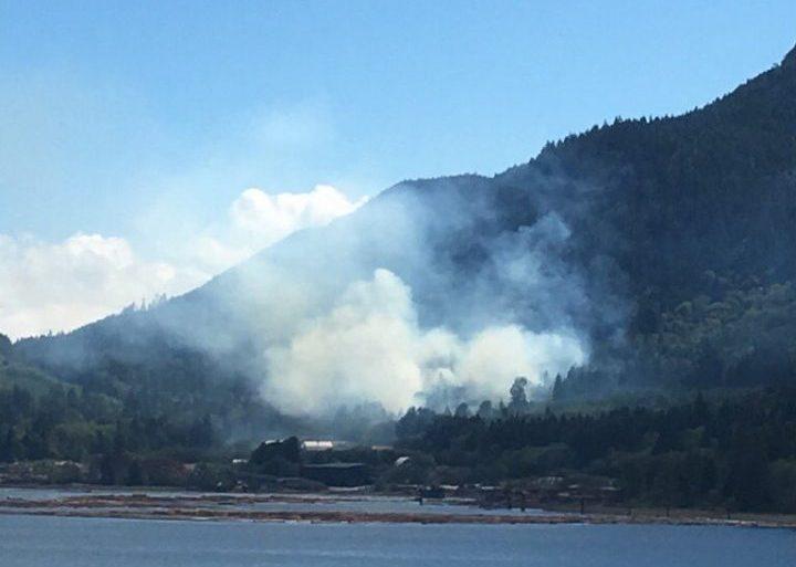 Crews are battling a fire near Port Mellon, B.C.