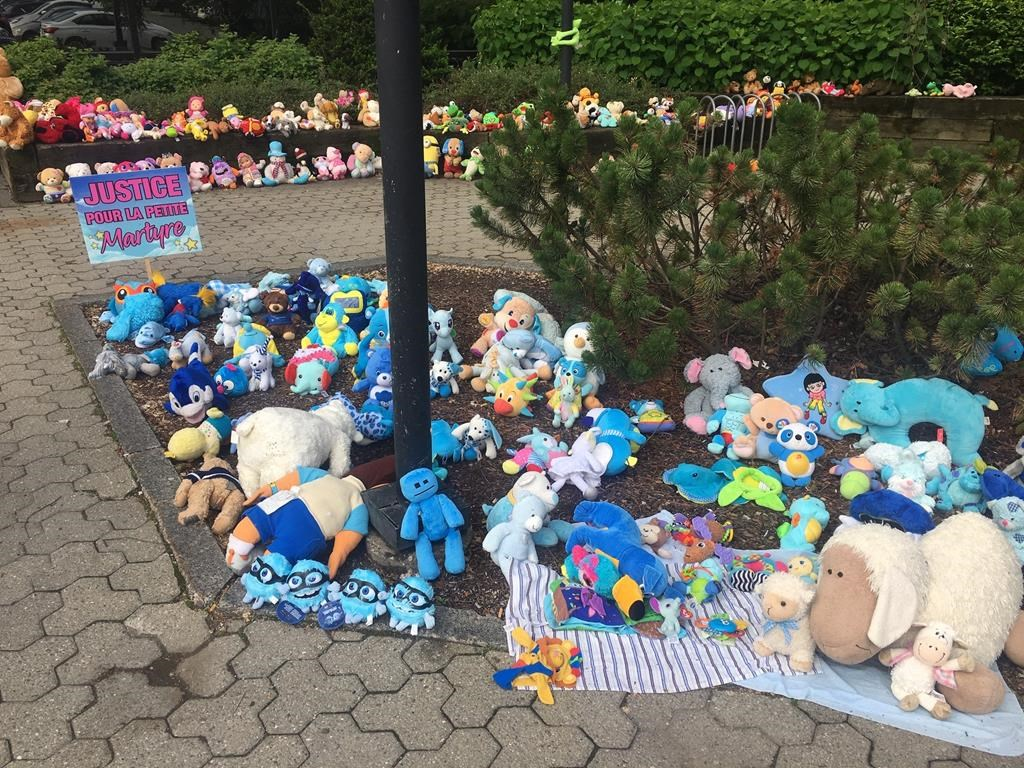 A memorial to commemorate the young girl who died earlier this year is shown outside the courthouse in Granby, Que., on Friday June 21, 2019.
