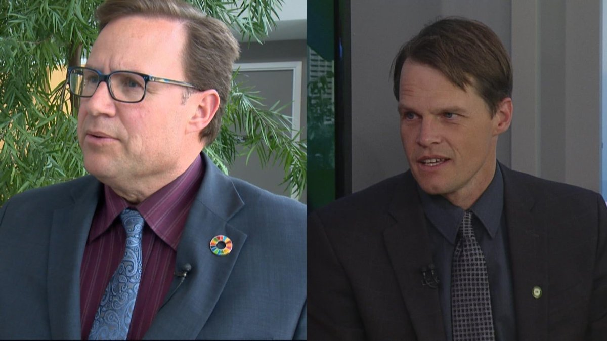 Rob Norris, left, has told Global News he is officially running against the incumbent Mayor of Saskatoon Charlie Clark, right. Clark has yet to declare if he is running for mayor.