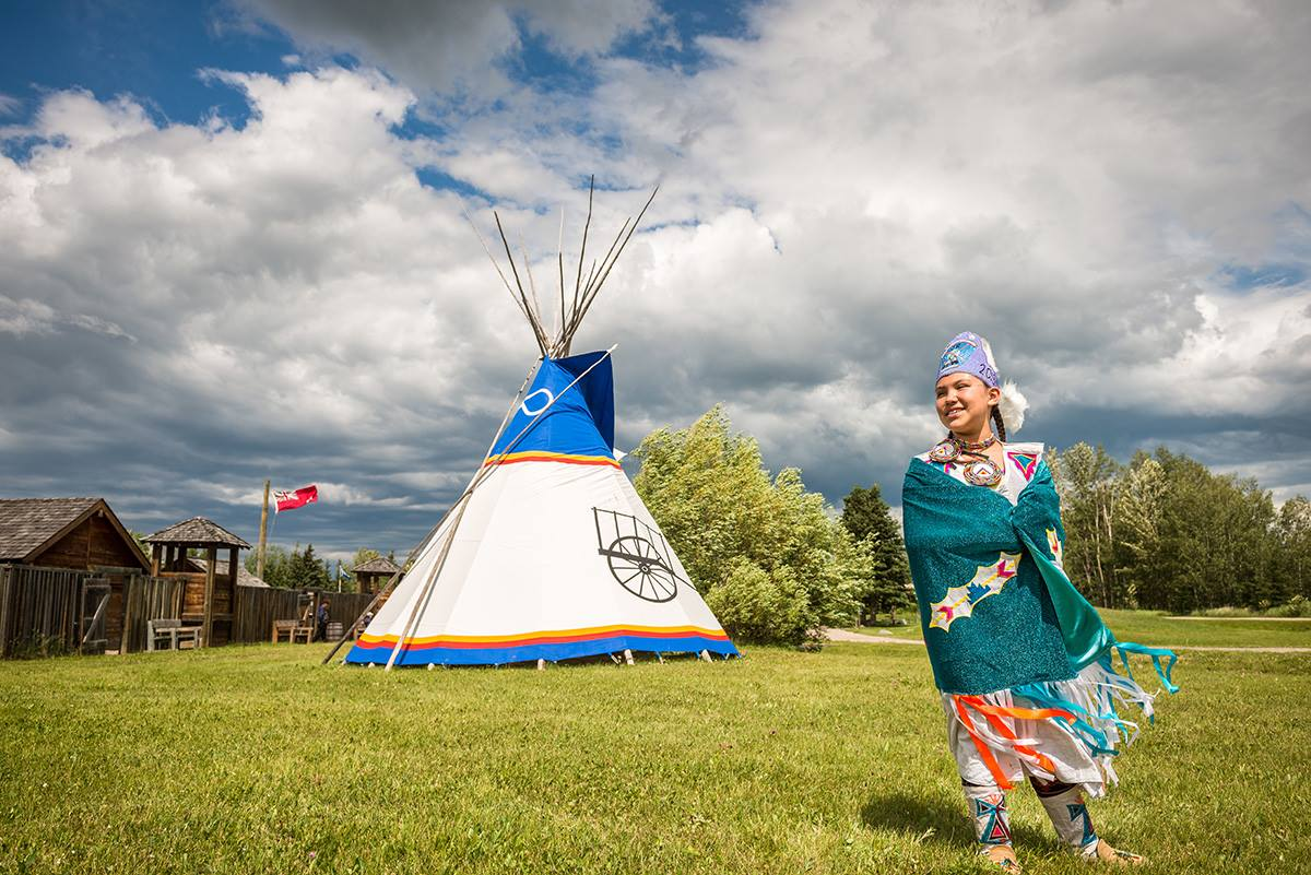 An interpreter at the Rocky Mountain House National Historic Site in Alberta.