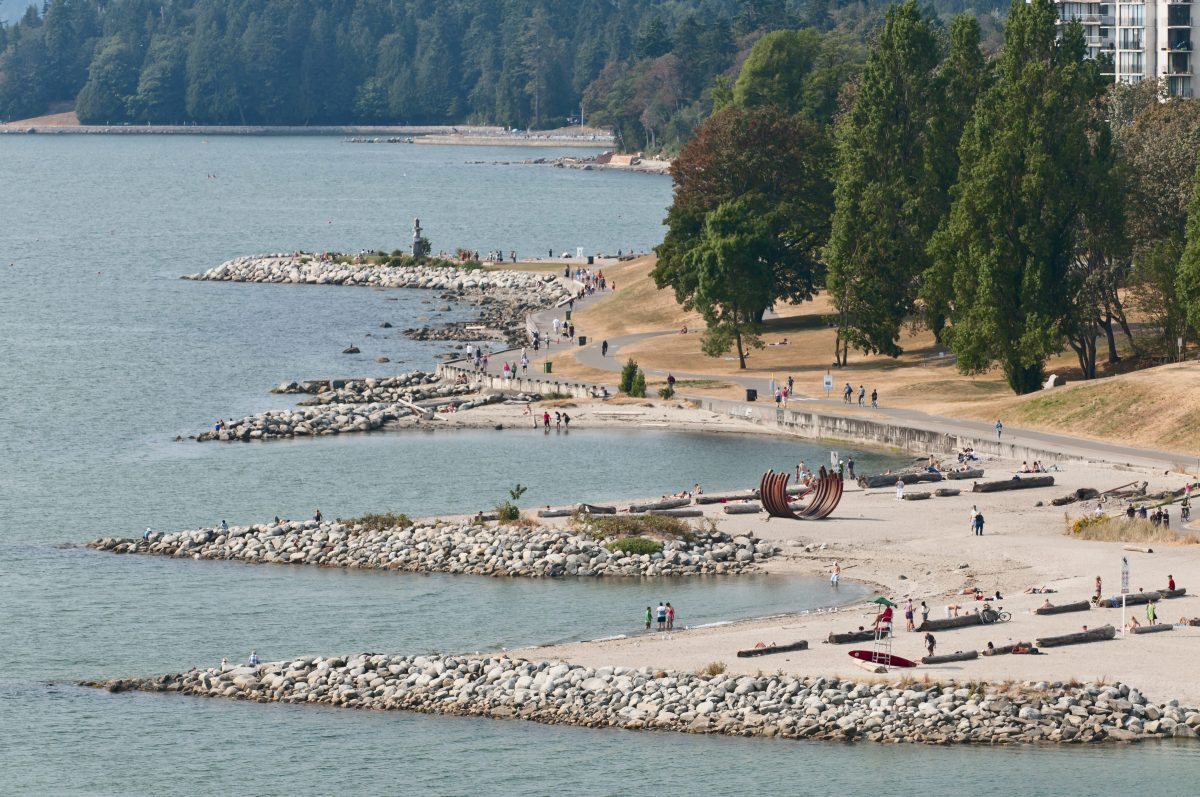 A high angle view of  Sunset Beach at the northeast end of English Bay on the waterfront of Vancouver's West End residential area.