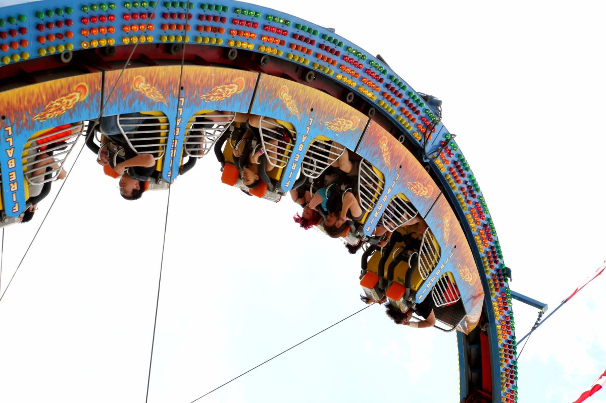 An upside-down ride at the Red River Ex.