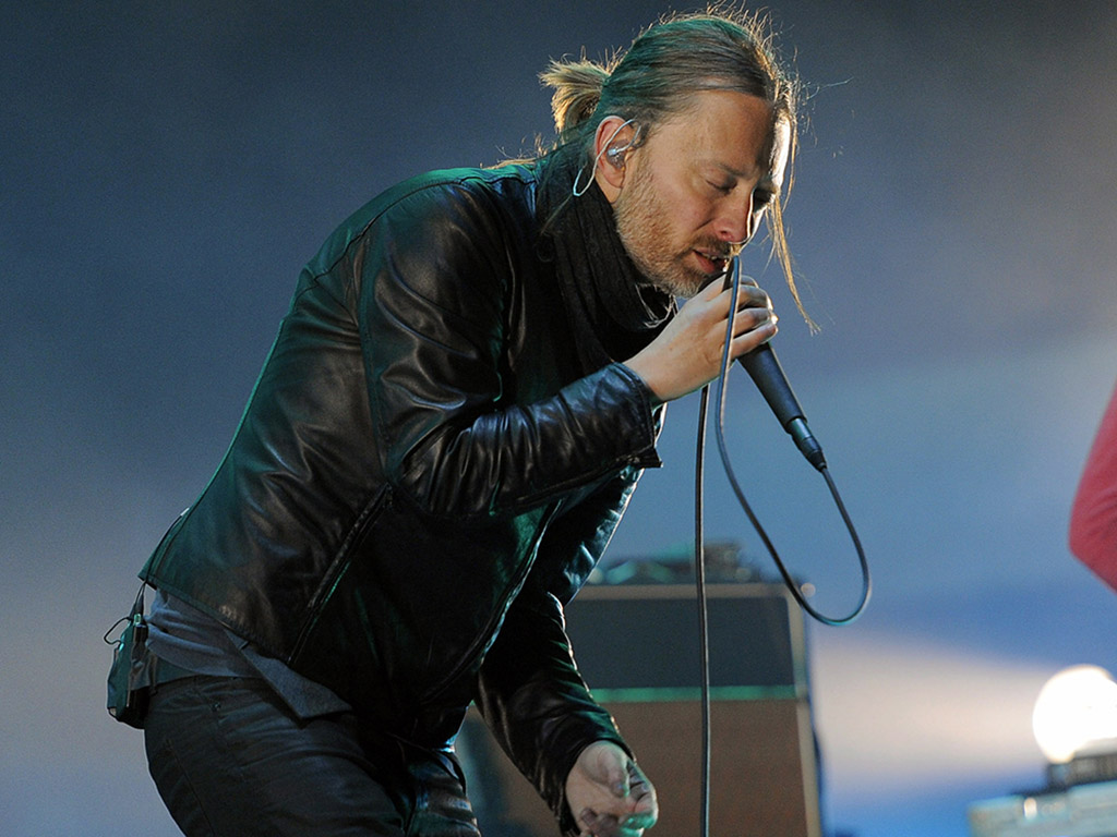 Thom Yorke of Radiohead performs during the band's headlining set at the 2012 Coachella Valley Music and Arts Festival in Indio, Calif.