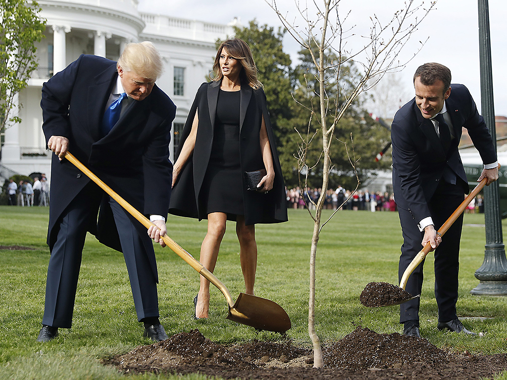 Donald Trump (L) and First Lady Melania Trump, along with French President Emmanuel Macron (R),  participate in a tree planting in front of the White House in Washington, DC, on April 23, 2018.