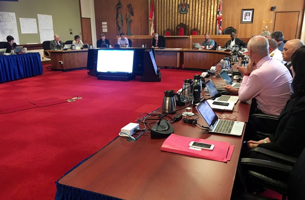 Victoria city council debates an amendment that would ask the Canadian military to fund the capital's Remembrance Day ceremonies Thursday, June 13, 2019. The motion ended up dying after council declined to bring it to a vote.