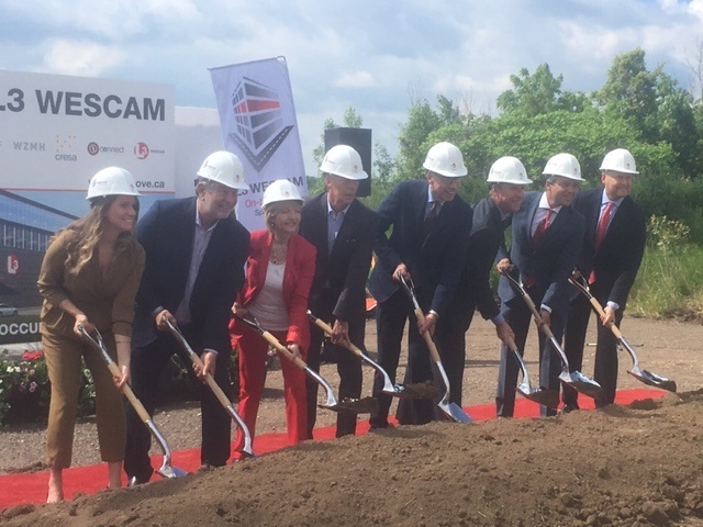 L3 Wescam and city officials broke ground Tuesday morning at the future site of the company's headquarters in Waterdown.