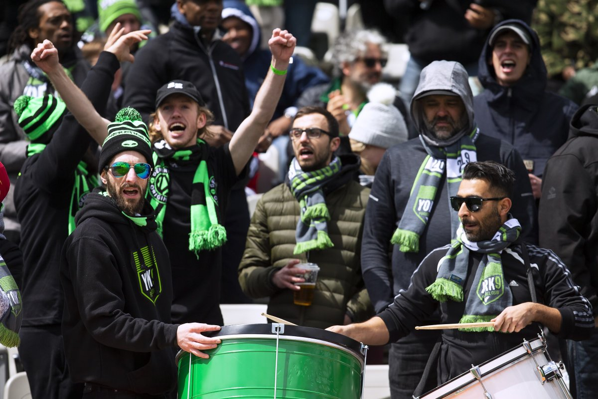 York 9 fans chant and cheer during the inaugural soccer match of the Canadian Premier League between Forge FC of Hamilton and York 9 in Hamilton, Ont. Saturday, April 27, 2019.