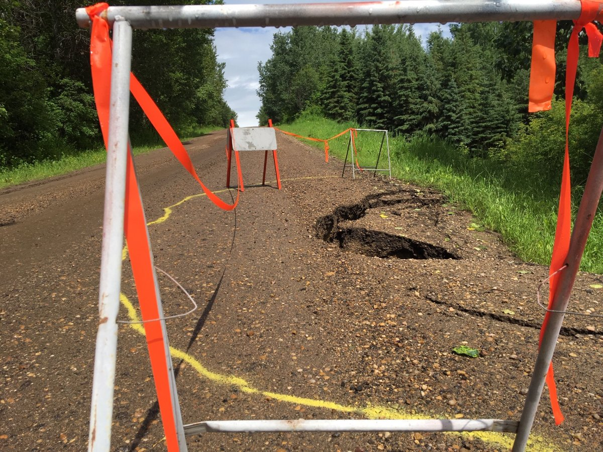 Range Road 71 in Lac Ste. Anne County damaged by precipitation. July 11, 2019.