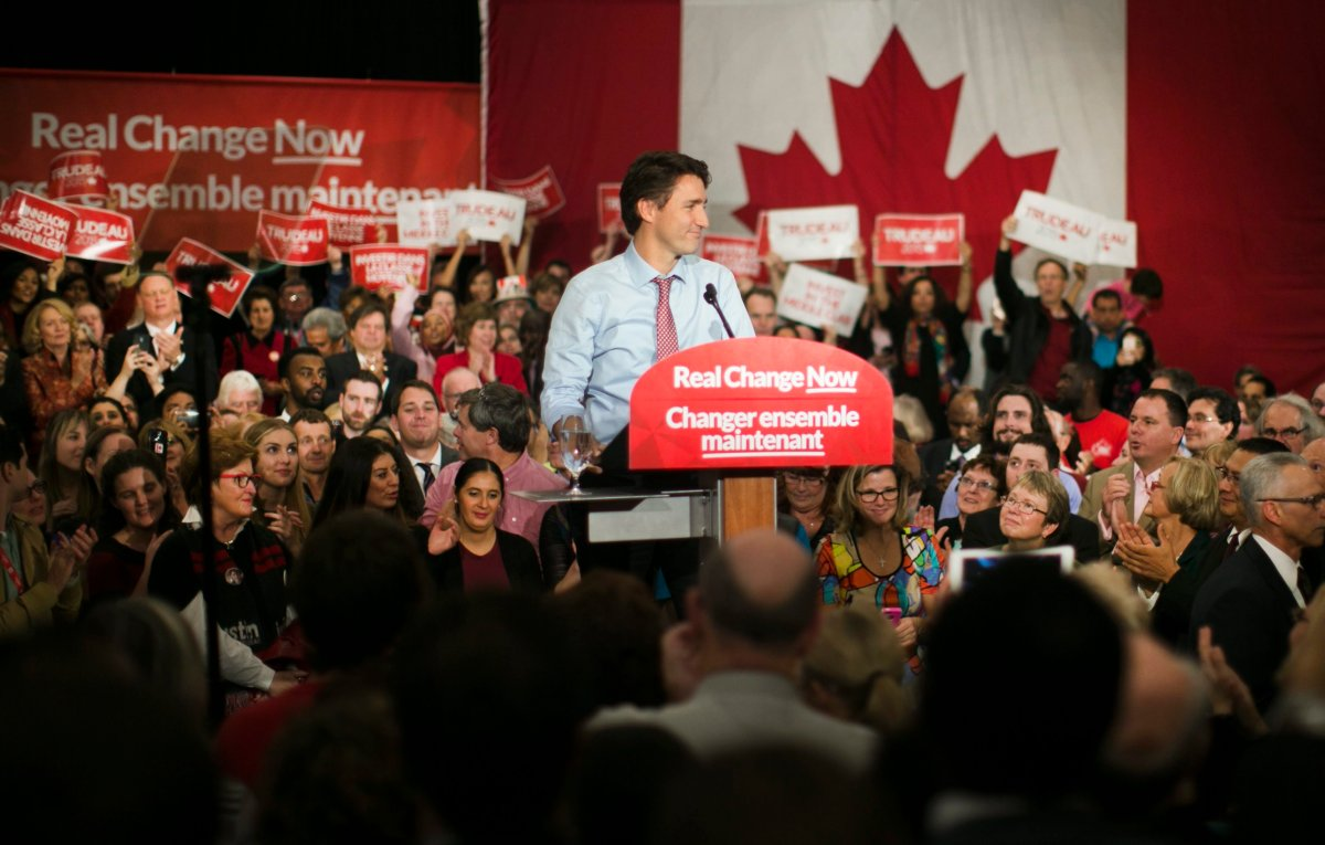 Canadian Prime Minister designate Justin Trudeau speaks during the rally to celebrate his majority victory in the Canada's 42nd election, in Ottawa, Canada, 20 October 2015.
