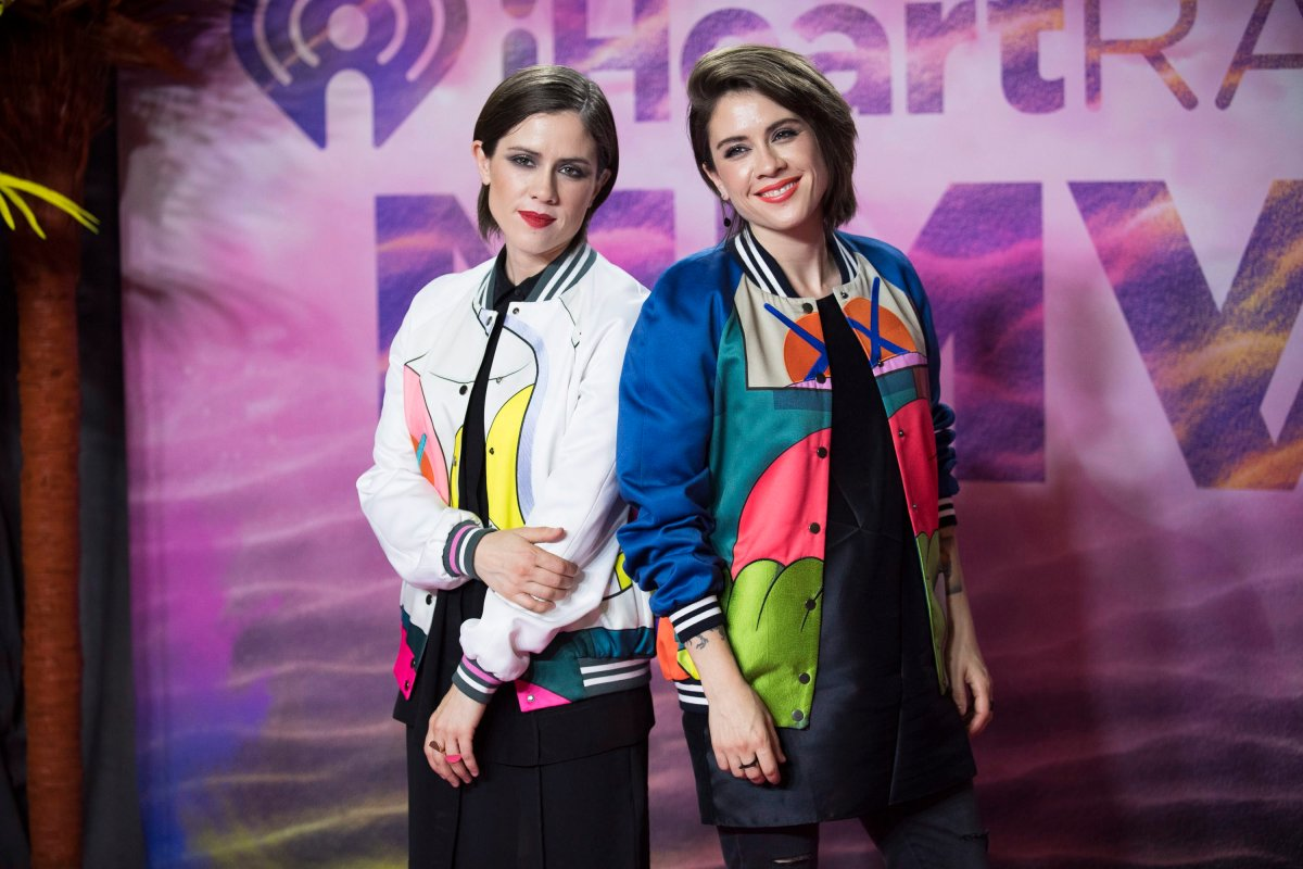 Sara Keirsten Quin, left, and Tegan Rain Quin of Tegan and Sara pose in the press room at the 2016 iHeartRADIO MuchMusic Video Awards on Sunday, June 19, 2016, in Toronto, Canada.