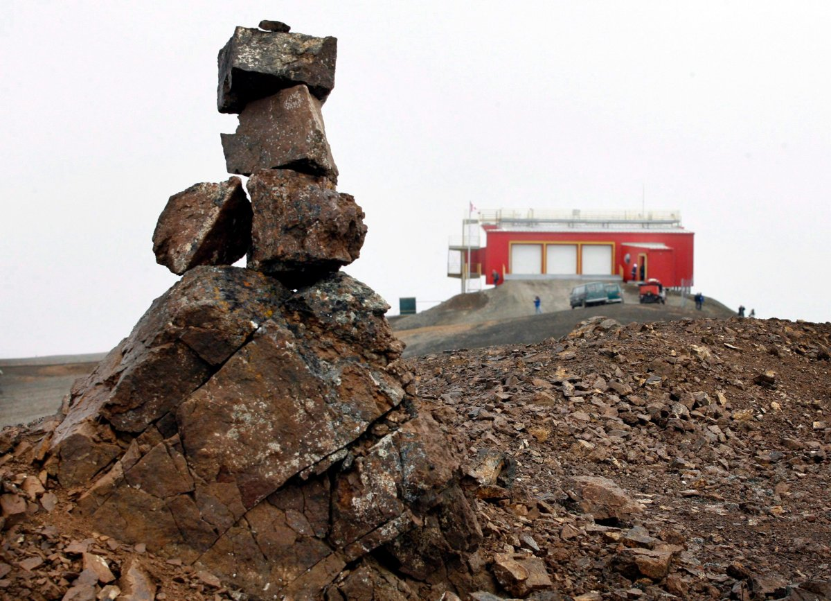 A rock cairn marks a high point near the Polar Environmental Atmospheric Research Laboratory (PEARL) near the Eureka Weather Station, on Ellesmere Island, Nunavut, on Monday, July 24, 2006.