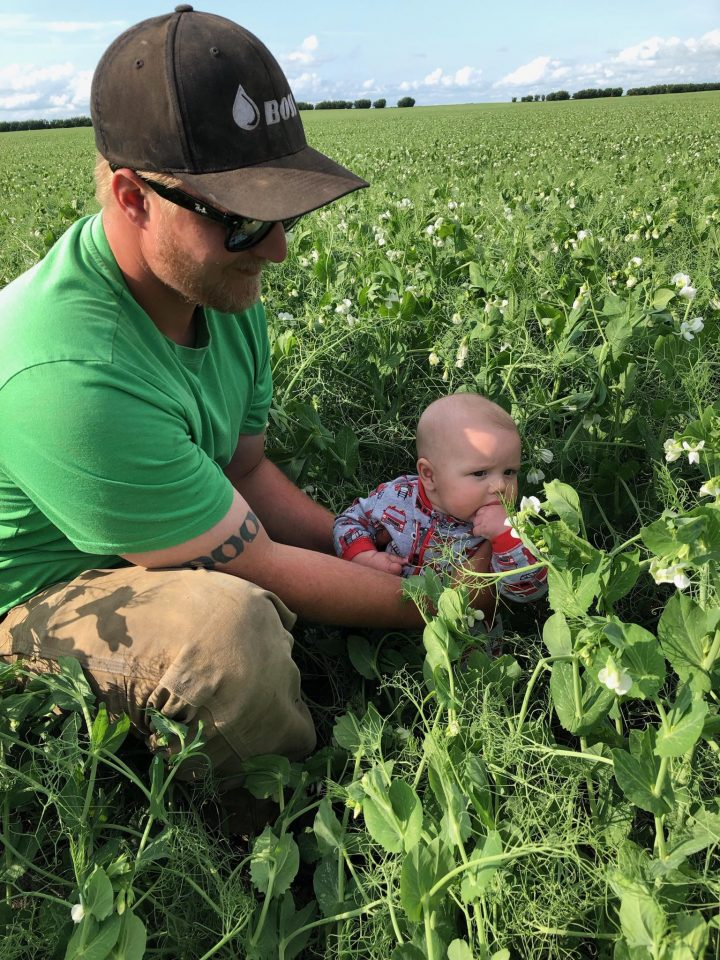 The July 31 Your Saskatchewan photo of JC checking the peas near Biggar was taken by his great-grandmother Gail Althouse.