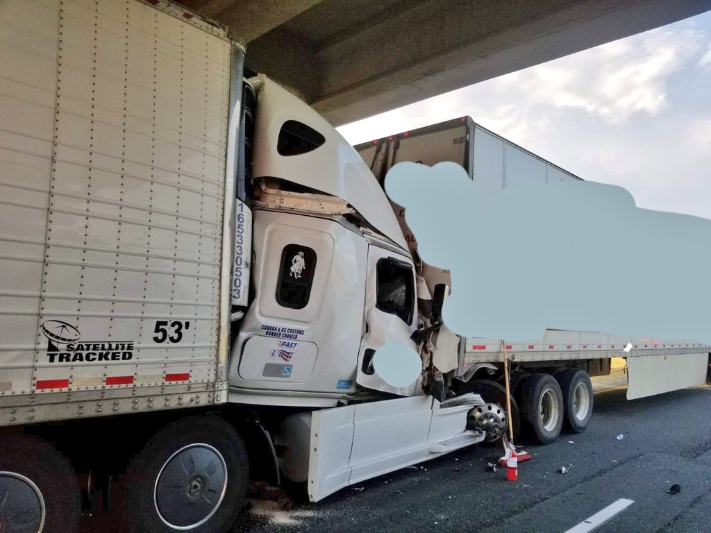 The crash happened along the eastbound lanes of Hwy. 401 near Iona Road. Note this photo has been altered by the OPP to remove truck branding.