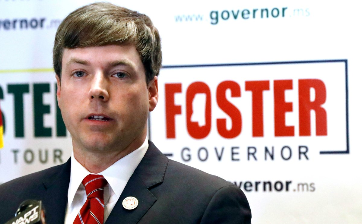 State Rep. Robert Foster, R-Hernando, speaks with reporters as he discusses his reasons for running for governor of Mississippi, Tuesday, Jan. 8, 2019, at the state GOP headquarters in Jackson, Miss.