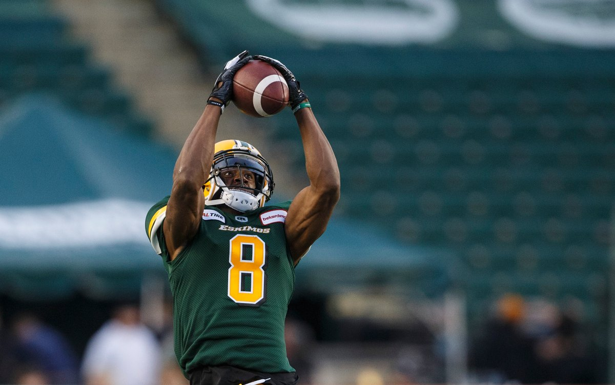 Receiver Kenny Stafford (8) makes the catch against the Montreal Alouettes during second half CFL action in Edmonton on Friday, June 14, 2019.