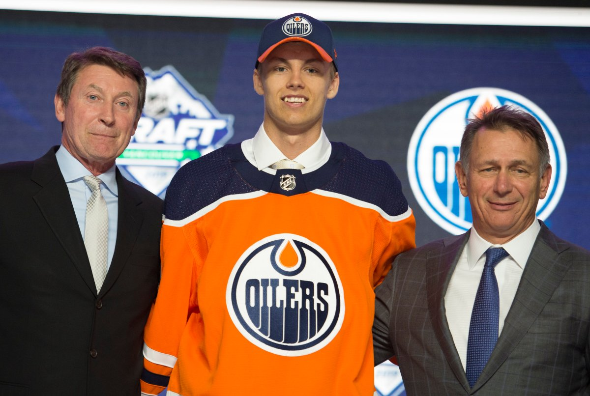 Edmonton Oilers select Philip Broberg during the first round NHL draft at Rogers Arena in Vancouver, Friday, June, 21, 2019.