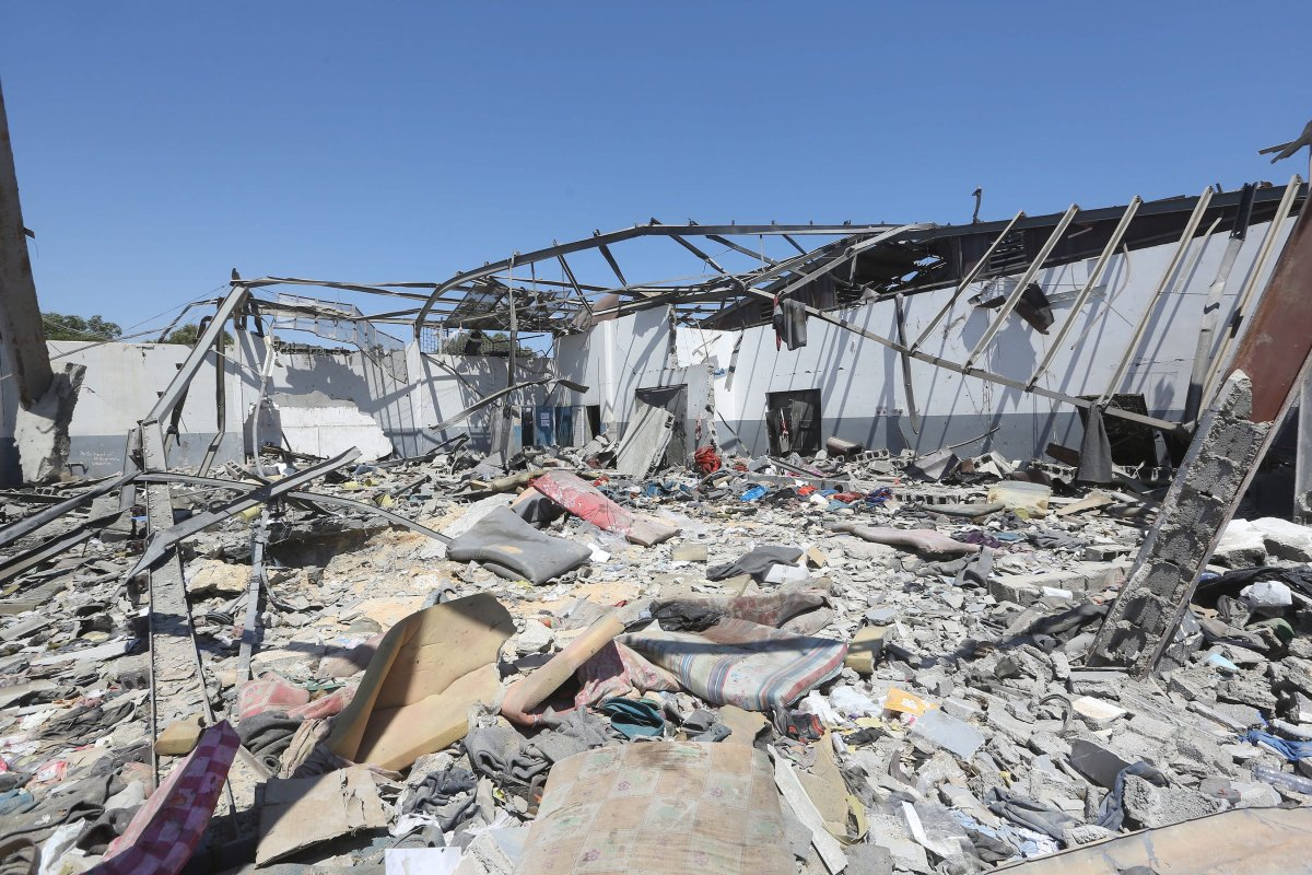 A general view of the destroyed detention center in Tripoli's, Libya, 03 July 2019. according to media reports, At least 44 people killed and 130 were injured after strike hit the Tajoura detention center held at least 600 refugees were attempting to reach Europe from Libya.