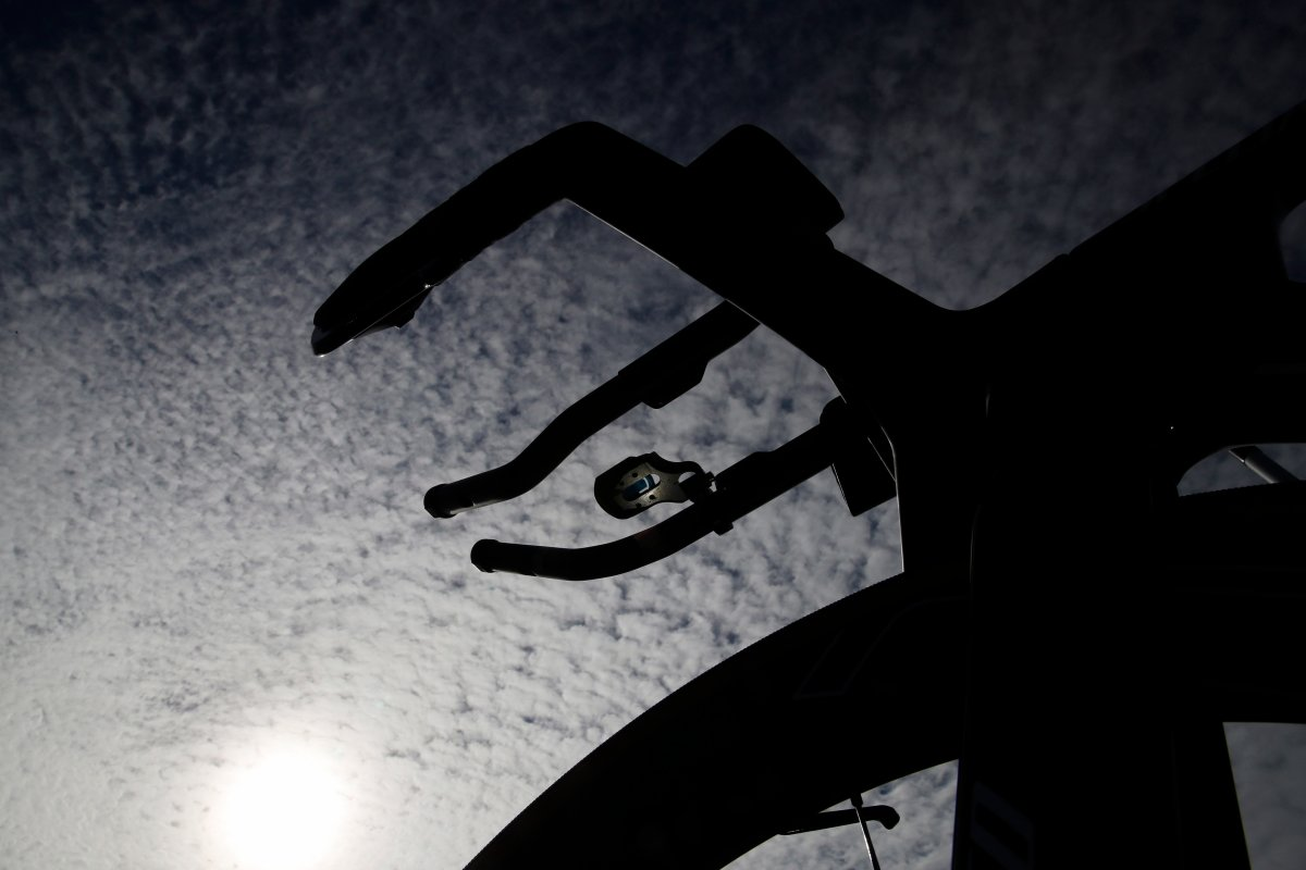 A bicycle is silhouetted by sunlight ahead of the 2019 Tour de France cycling race in Brussels, Friday, July 5, 2019.