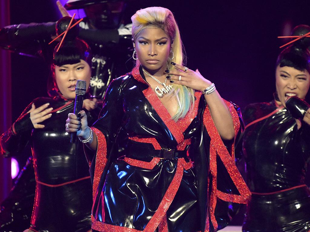 This June 24, 2018 file photo shows Nicki Minaj performing at the BET Awards in Los Angeles, Calif.